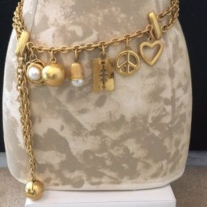 MOSCHINO vintage charm gold plated chain belt
